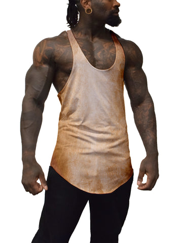Brown Color Burn Stringer Tank Top