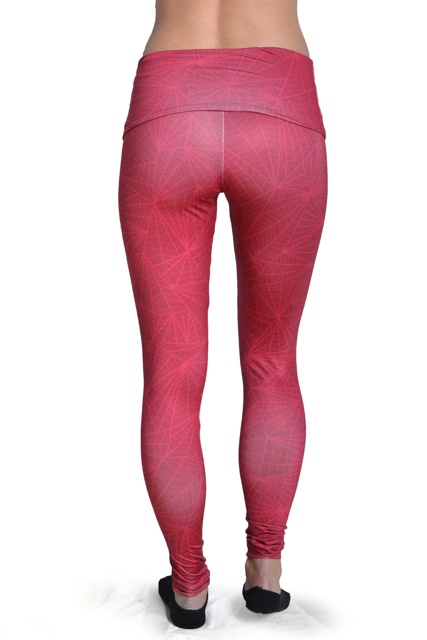 Women's Graphic All Over Print Red Fern Yoga Leggings Back