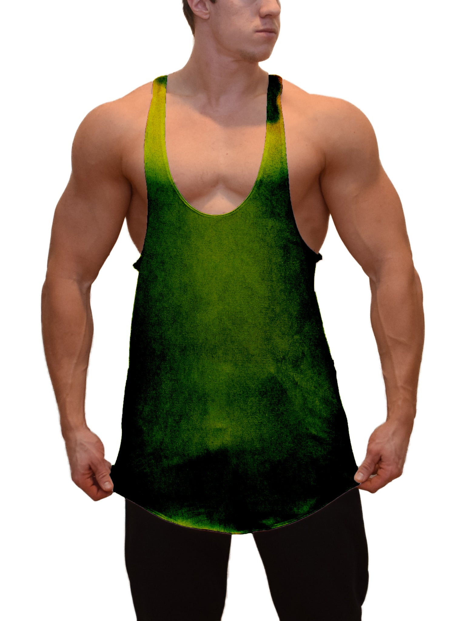 Green Color Burn Stringer Tank Top