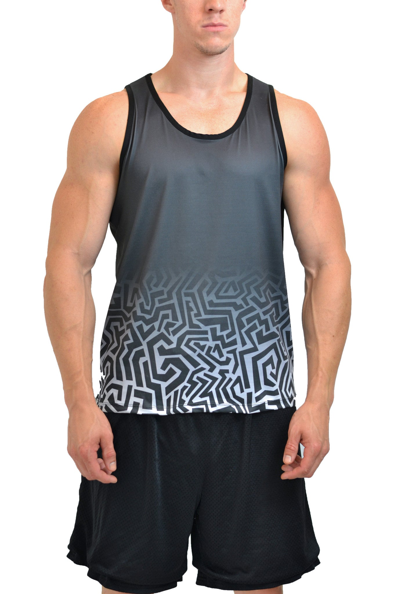 Men's Graphic Hex All Over Print Fitness Tank Top