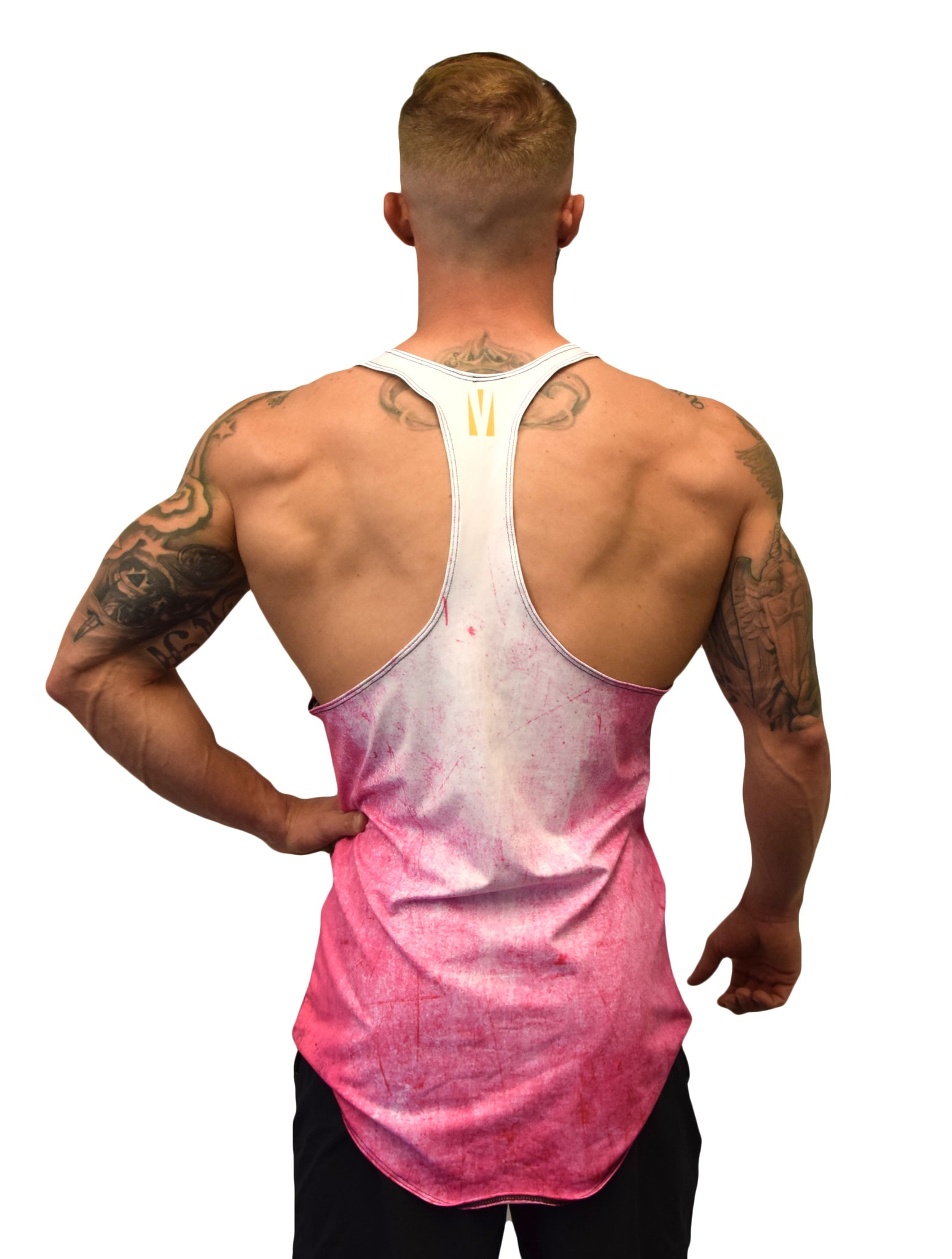 Pink Color Burn Stringer Tank Top