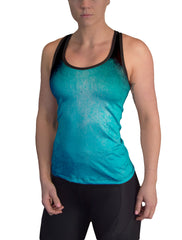 Turquoise Color Burn Racerback Tank