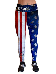 Stars and Stripes on Wood Gym Leggings