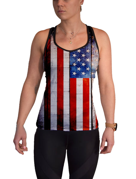American Flag on Wood Racerback Tank