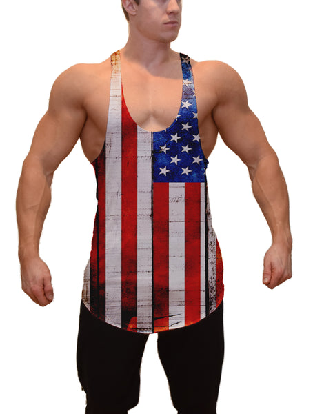 American Flag on Wood Stringer Tanktop
