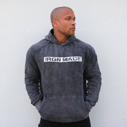 IRON MADE-Acid wash hoodie- Black