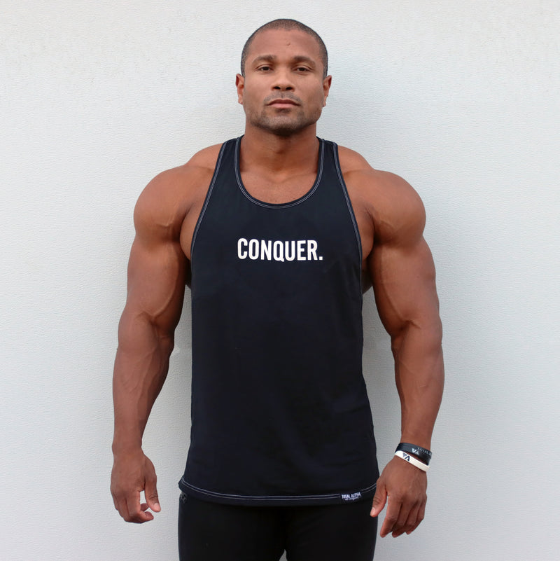 """CONQUER"" DOUBLE STITCH RACER BACK TANK"