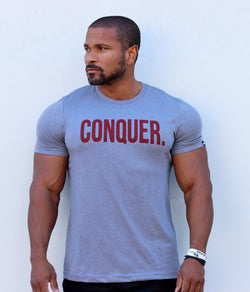 "Total Alpha ""CONQUER"" tee sky blue & burgundy"