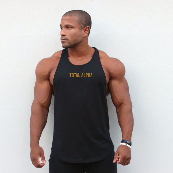 TOTAL ALPHA BLACK & GOLD RACER BACK TANK