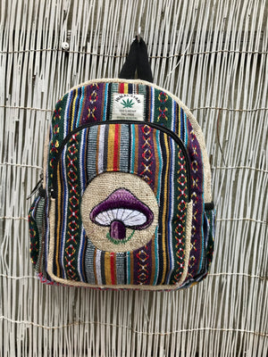 Small Hemp backpack - Hand Made in Nepal.