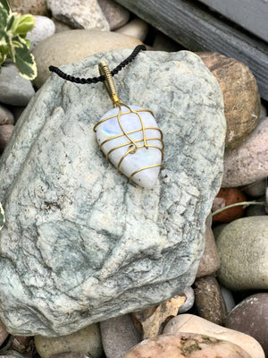 Moon Stone Necklace - Brass Wrap