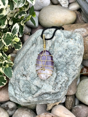 Amethyst Necklace - Brass  Wrap