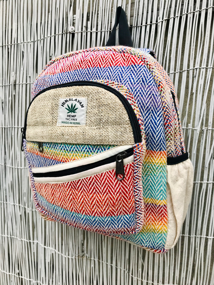 Small Hemp backpack - Rainbow