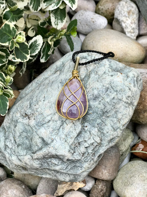 Amethyst Necklace - Brass  Spiral