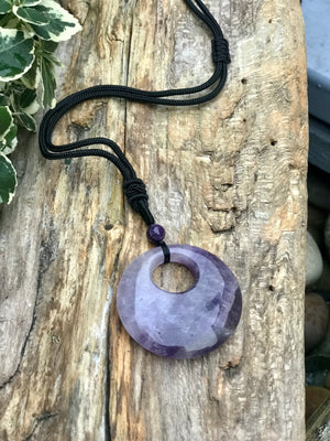 Large Amethyst Pendant Adjustable Necklace