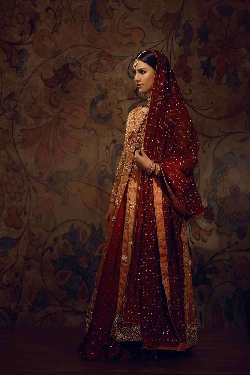 Luxury Pret, Pakistani Fashion Designer ORANGE LONG TRAIL - Phatyma Khan