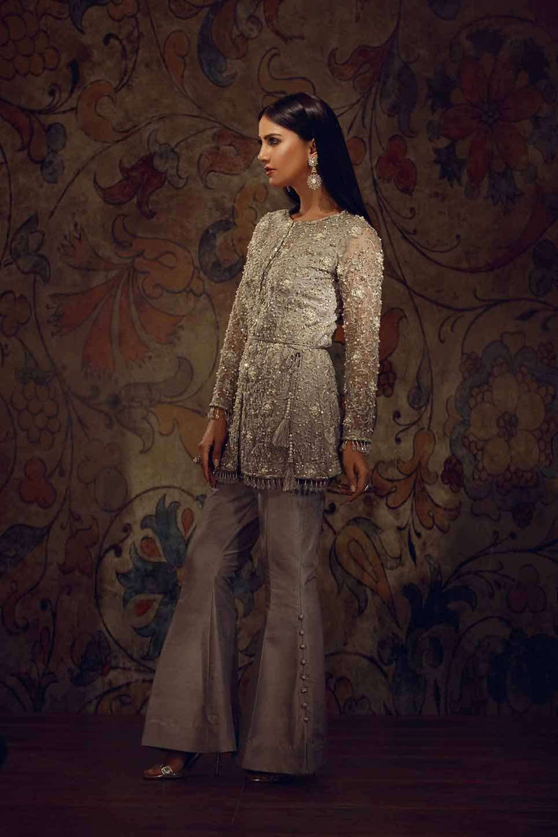 Luxury Pret, Pakistani Fashion Designer EMBROIDERED SILVER GREY - Phatyma Khan