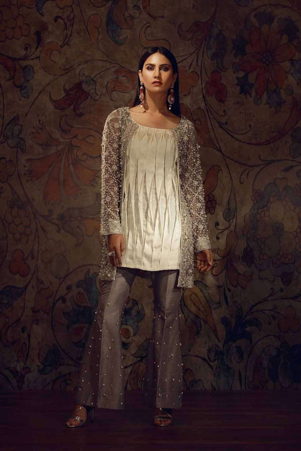 Luxury Pret, Pakistani Fashion Designer EMBROIDERED GREY WRAP - Phatyma Khan