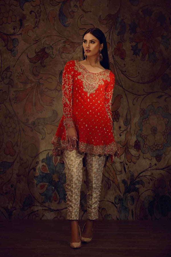 Luxury Pret, Pakistani Fashion Designer RED PEPLUM - Phatyma Khan