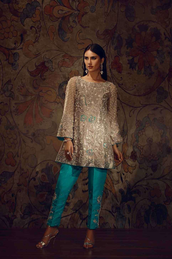Luxury Pret, Pakistani Fashion Designer MASURI ORGANZA SHIRT - Phatyma Khan
