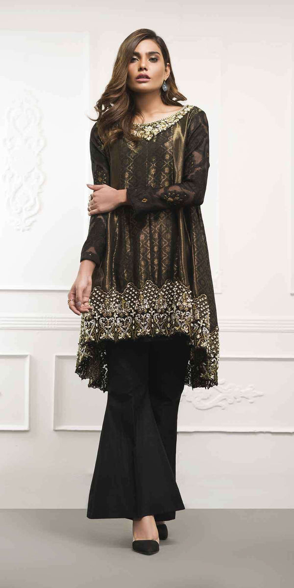 Luxury Pret, Pakistani Fashion Designer BLACK PEPLUM - Ready To Deliver - Phatyma Khan