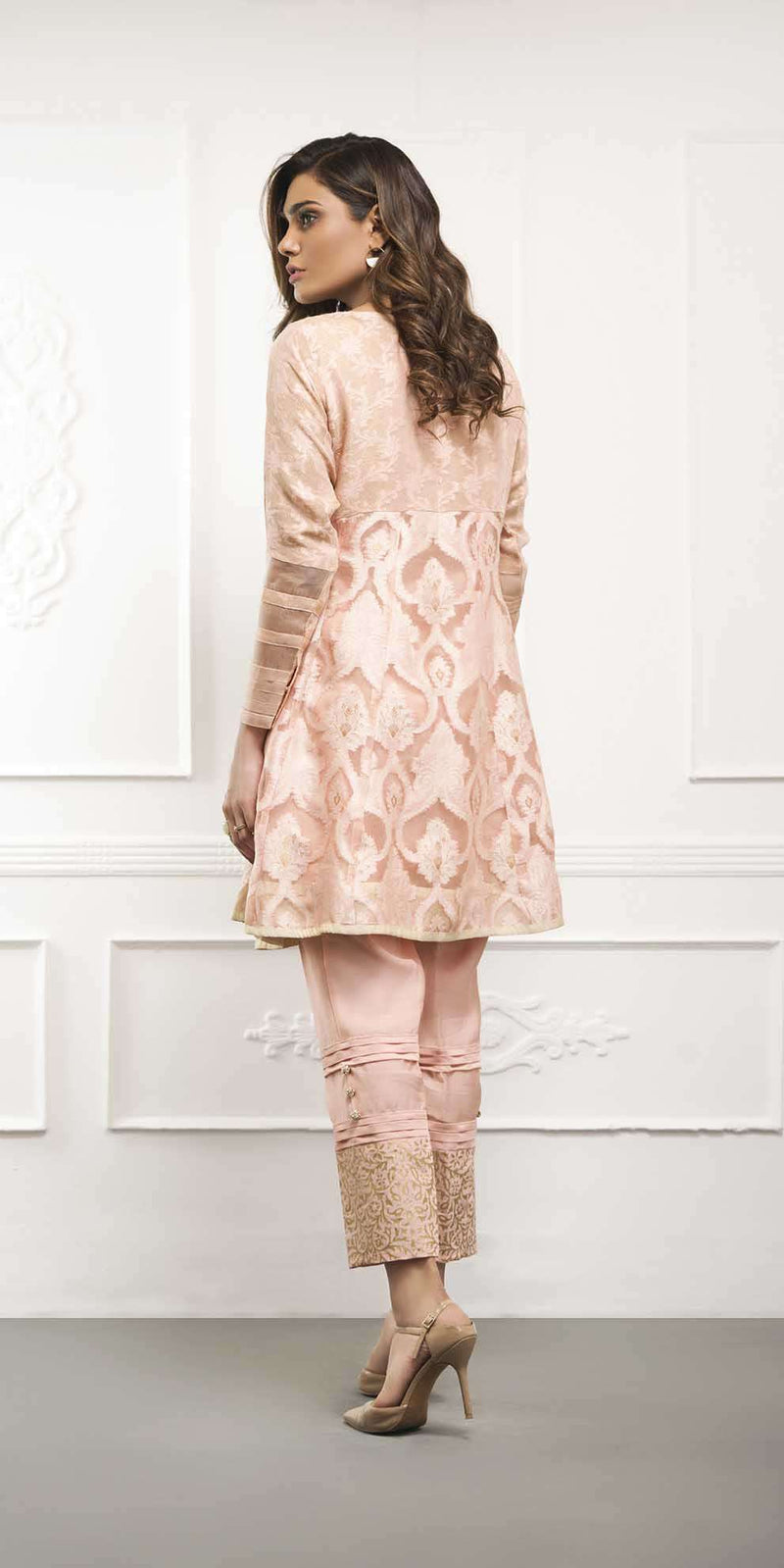 Luxury Pret, Pakistani Fashion Designer PEACH PEPLUM - Phatyma Khan