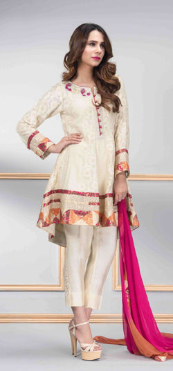 Luxury Pret, Pakistani Fashion Designer ROYAL WHITE - Phatyma Khan
