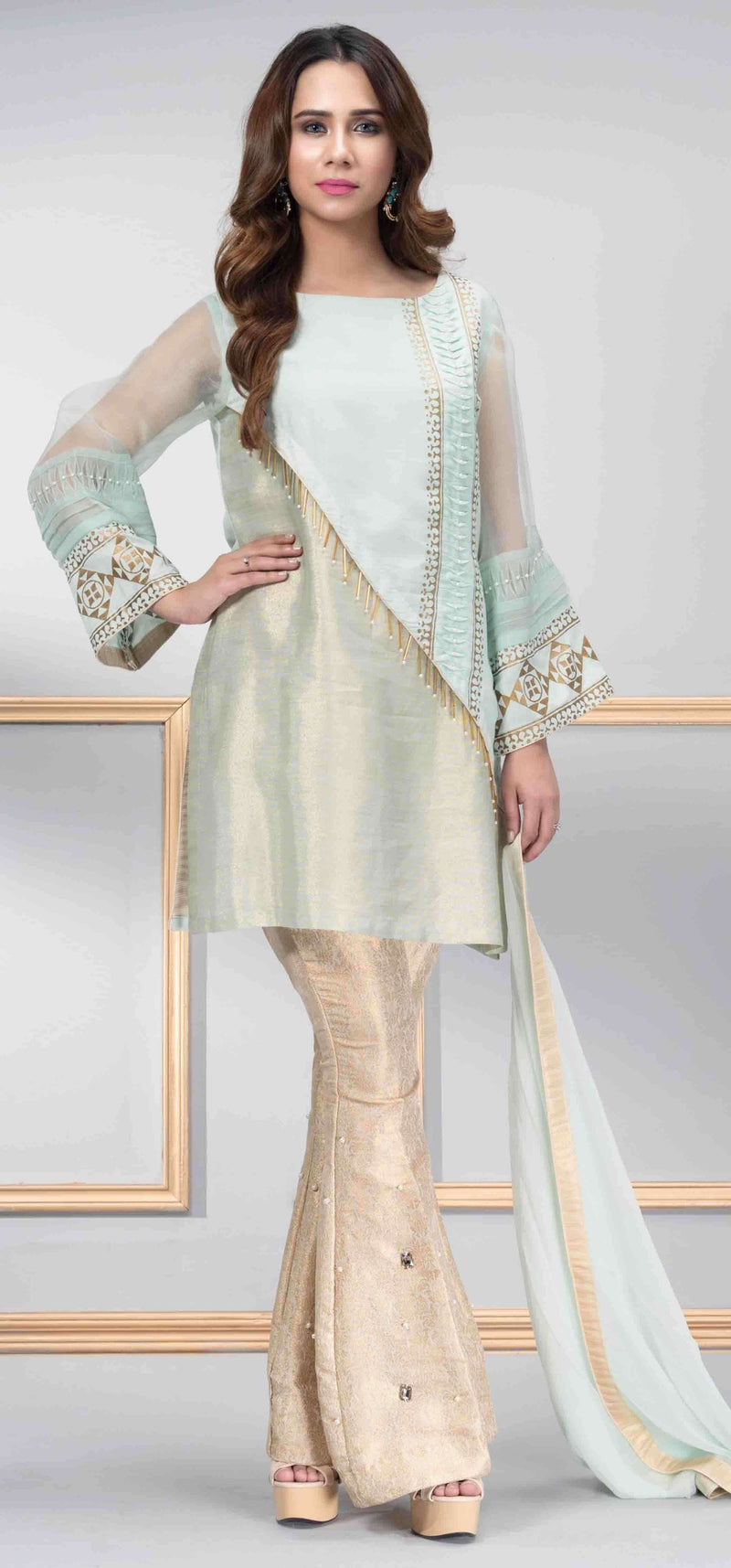 Luxury Pret, Pakistani Fashion Designer DOLPHIN MINT - Phatyma Khan
