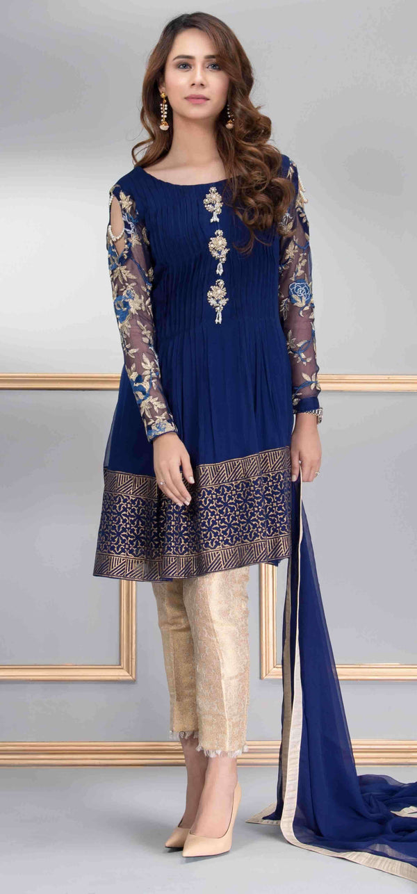 Luxury Pret, Pakistani Fashion Designer SAPPHIRE BLUE - Phatyma Khan
