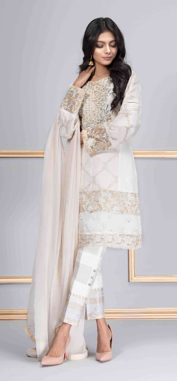 Luxury Pret, Pakistani Fashion Designer ETHEREAL WHITE - Phatyma Khan