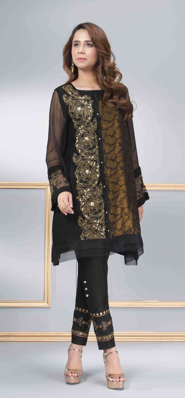 Luxury Pret, Pakistani Fashion Designer GANACHE BLACK - Phatyma Khan