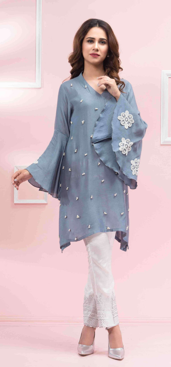 Luxury Pret, Pakistani Fashion Designer GREY BLOOM - Phatyma Khan