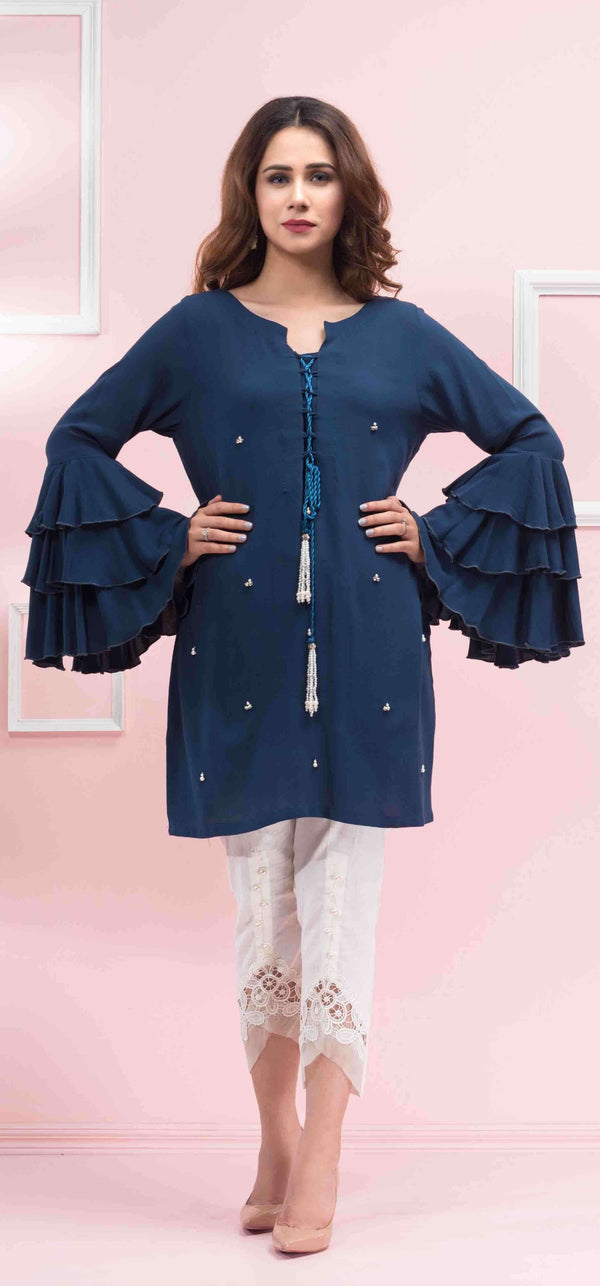 Luxury Pret, Pakistani Fashion Designer BLUE FRIL - Phatyma Khan