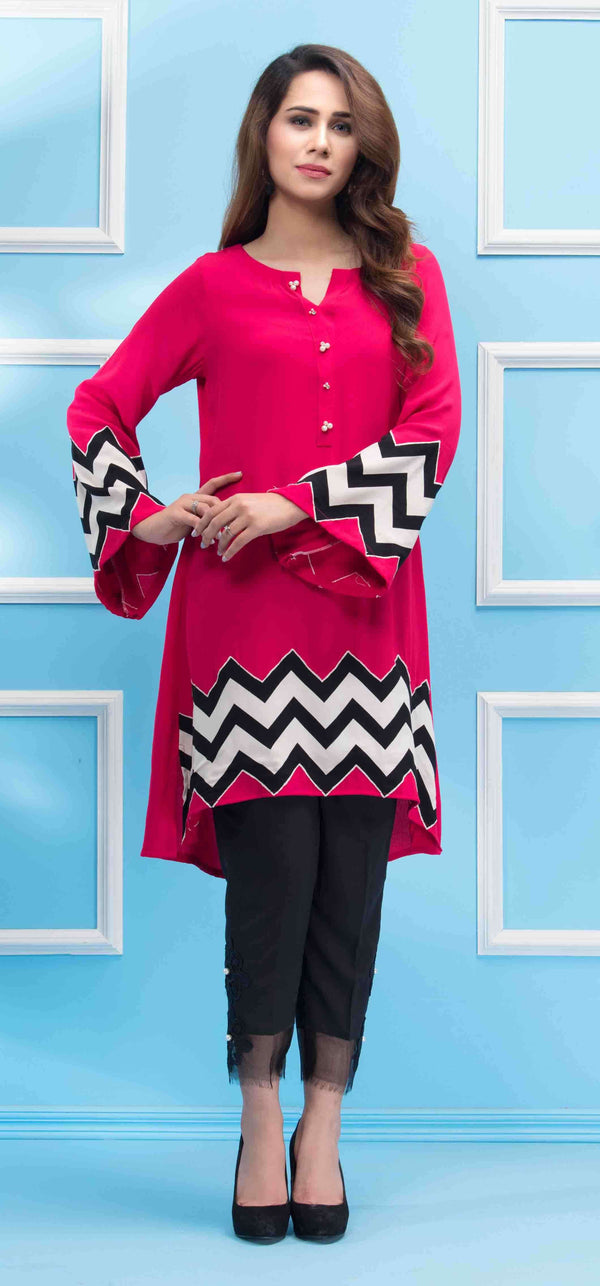 Luxury Pret, Pakistani Fashion Designer PINK ZIGZAG - Phatyma Khan