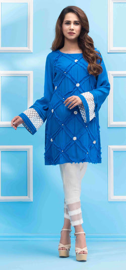 Luxury Pret, Pakistani Fashion Designer COBALT BLUE - Phatyma Khan