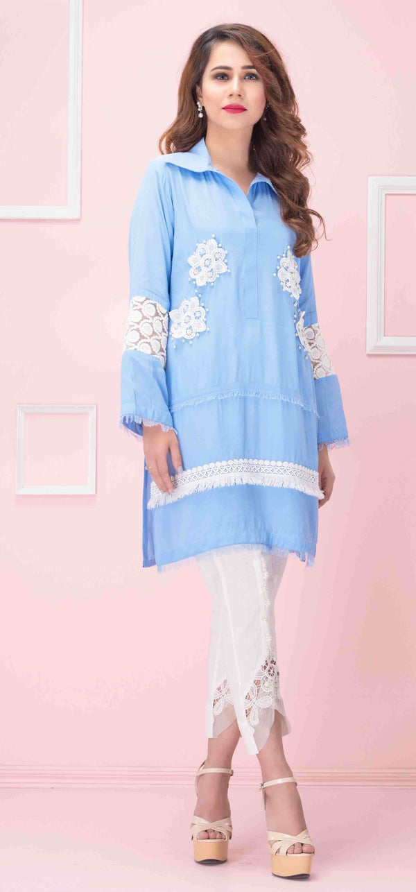 Luxury Pret, Pakistani Fashion Designer CLOUDY BLUE - Phatyma Khan