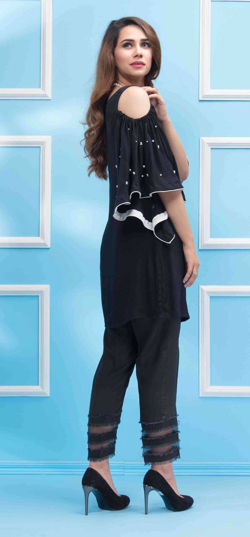 Luxury Pret, Pakistani Fashion Designer SPRING BLACK - Phatyma Khan