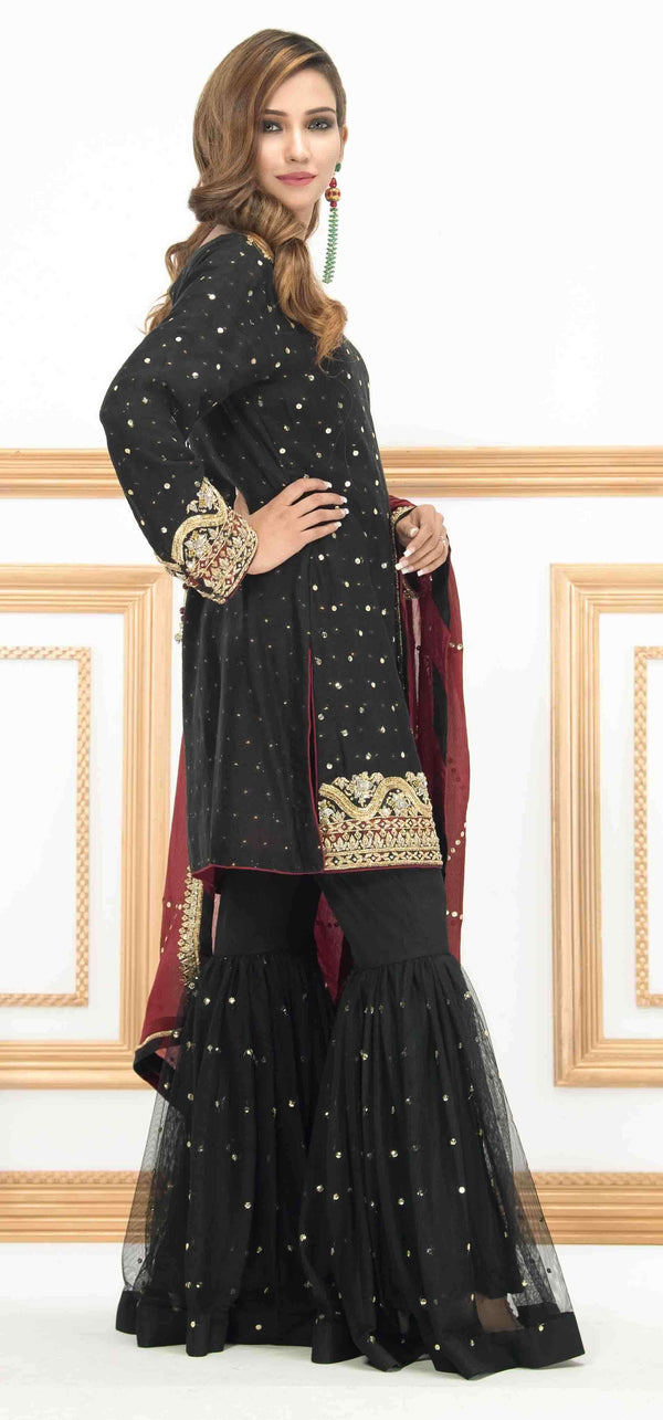 Luxury Pret, Pakistani Fashion Designer DAZZLING BLACK - Phatyma Khan