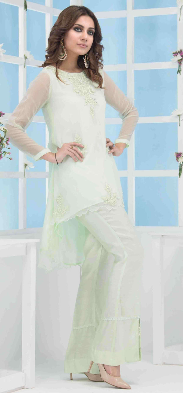 Luxury Pret, Pakistani Fashion Designer ICE GREEN - Phatyma Khan