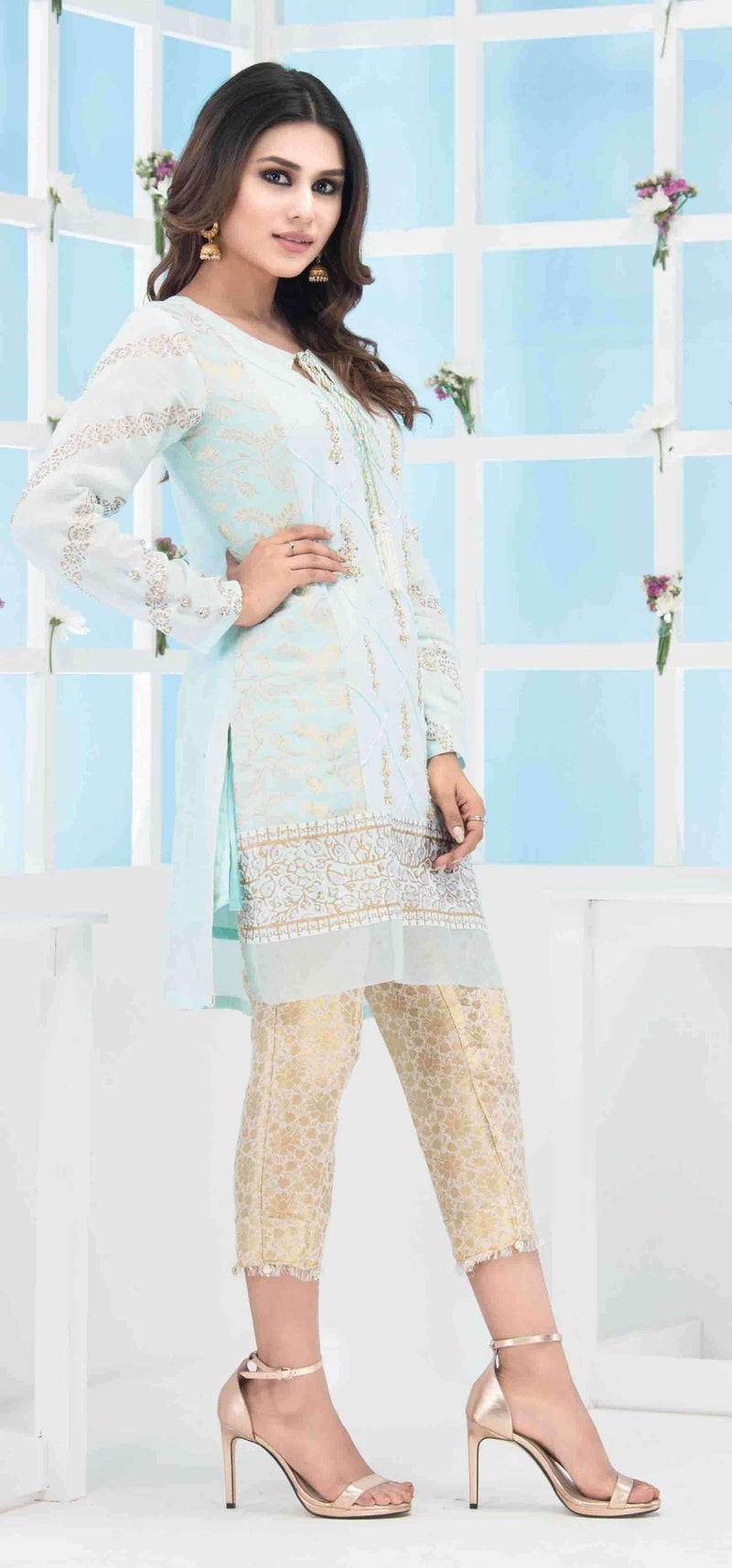 Luxury Pret, Pakistani Fashion Designer PALE BLUE GOLD - Phatyma Khan