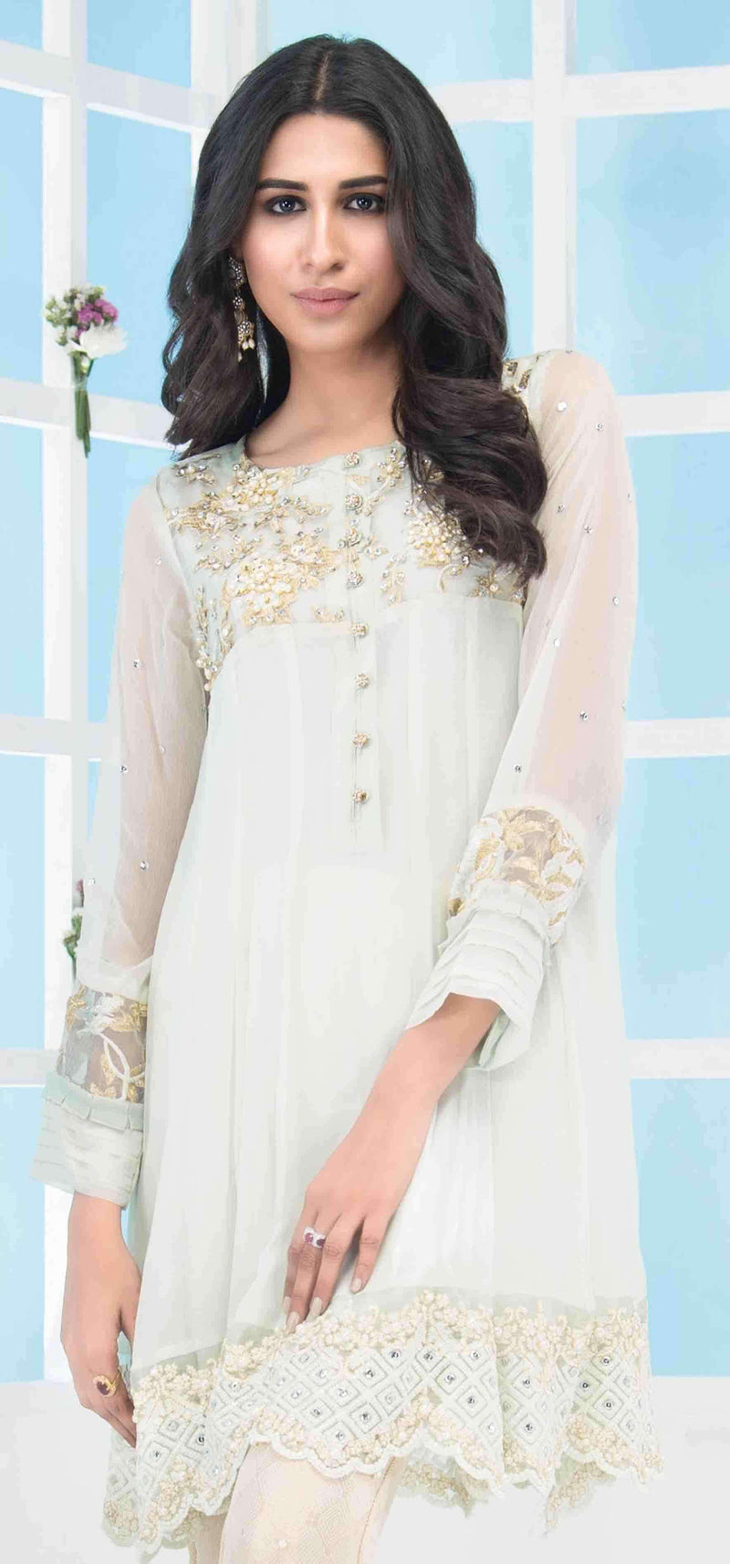 Luxury Pret, Pakistani Fashion Designer FLOWY PISTACHIO - Phatyma Khan