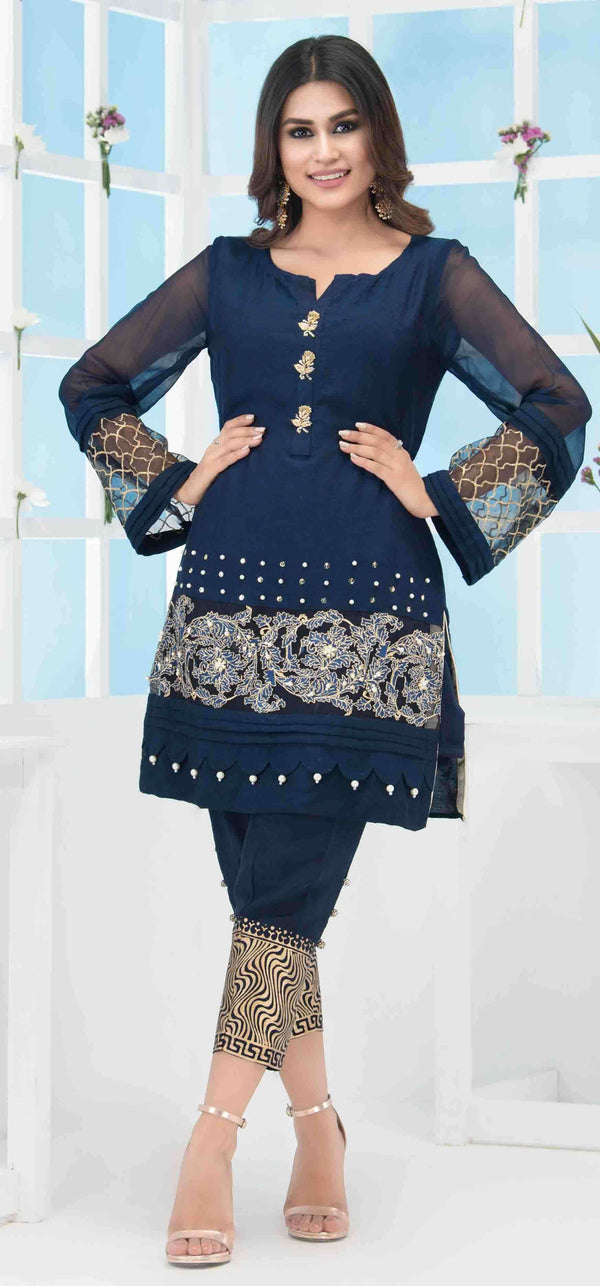 Luxury Pret, Pakistani Fashion Designer CLASSIC BLUE - Phatyma Khan