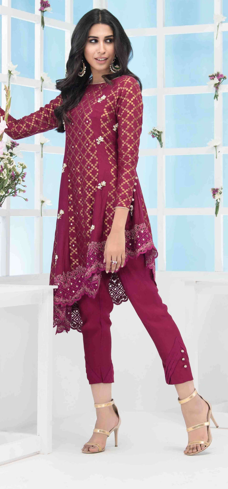 Luxury Pret, Pakistani Fashion Designer REGAL MAROON - Phatyma Khan