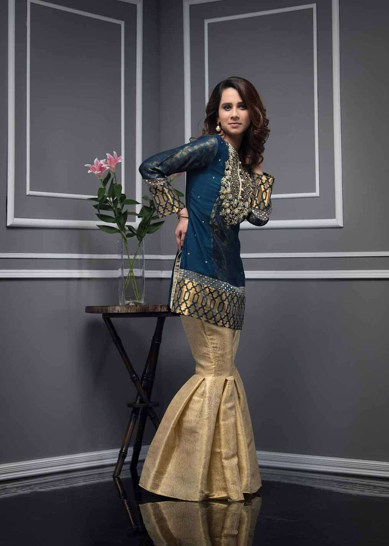 Luxury Pret, Pakistani Fashion Designer TRIBAL BLUE - Phatyma Khan