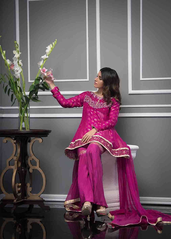 Luxury Pret, Pakistani Fashion Designer SUFFUSE PINK - Phatyma Khan