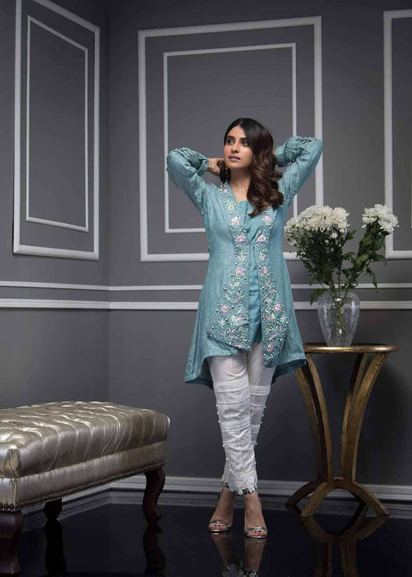 Luxury Pret, Pakistani Fashion Designer TEAL TROPICAL - Phatyma Khan