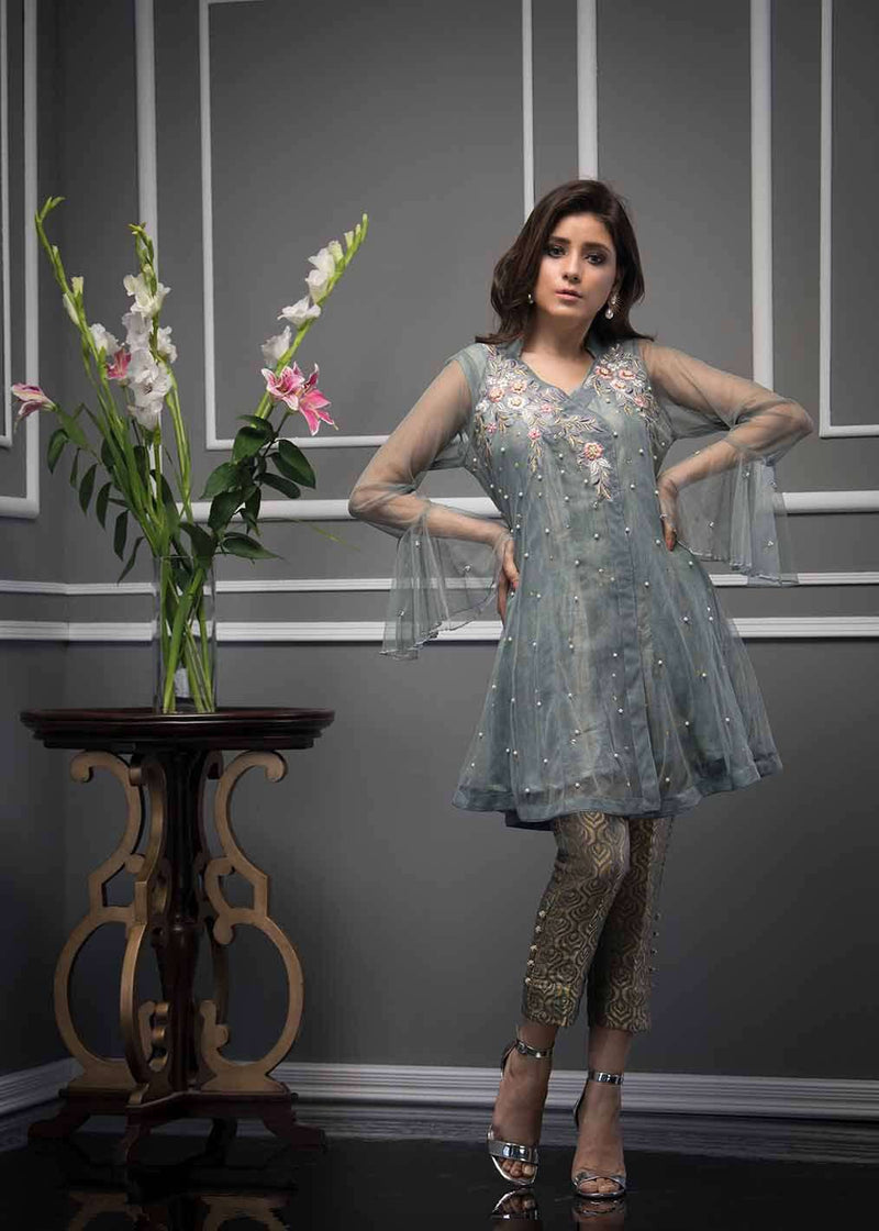 Luxury Pret, Pakistani Fashion Designer DUSKY GREY - Phatyma Khan