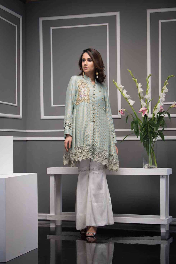 Luxury Pret, Pakistani Fashion Designer OYESTER GREY - Phatyma Khan