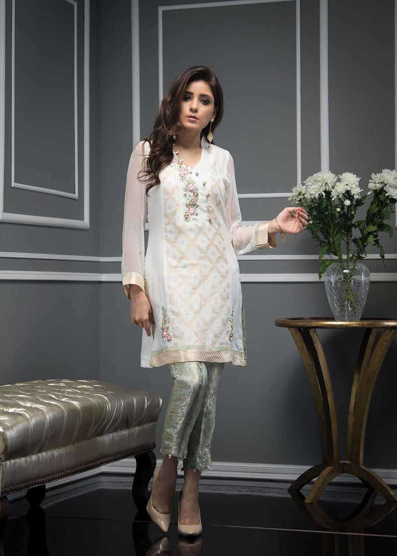 Luxury Pret, Pakistani Fashion Designer VIVID WHITE - Phatyma Khan