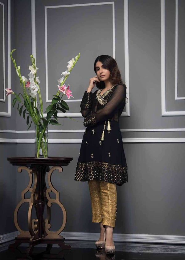 Luxury Pret, Pakistani Fashion Designer BRONZE BLACK - Phatyma Khan